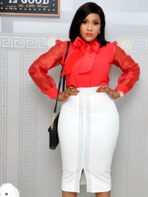 White Pencil Skirts with Front Slit