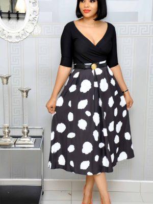 Black and White Big Polkadot Skater Skirts