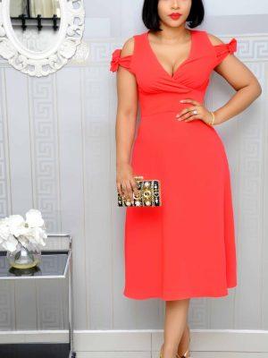 Red Wrap Cold Shoulder Dress