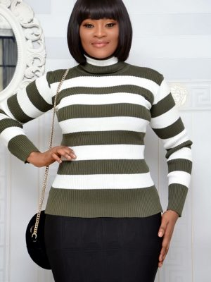 GREEN & WHITE STRIPE TURTLE NECK TOP