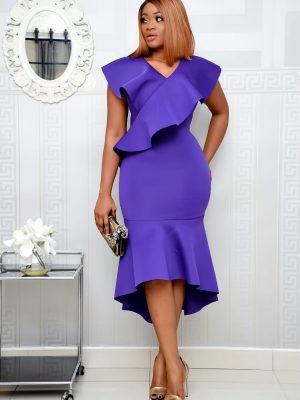 PURPLE SCUBA HIGH LOW DRESS