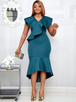 DARK GREEN SCUBA HIGH LOW DRESS