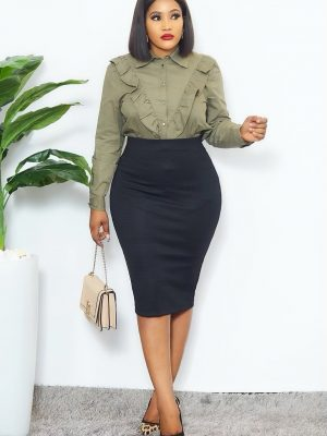 ARMY GREEN SHIRT TOP WITH RUFFLES