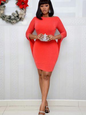 RED CAPE SHORT DRESS