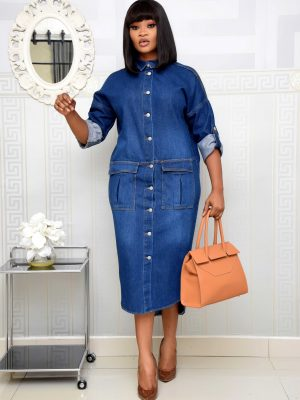 BLUE DENIM DRESS WITH POCKET