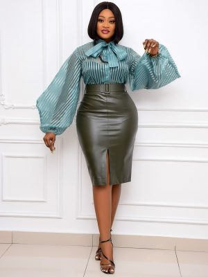 ARMY GREEN BELTED  SKIRT