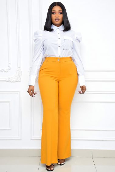 MUSTARD BOOT-CUT TROUSER