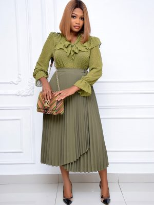ARMY GREEN PLEATED WRAP SKIRT