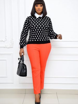 BLACK AND WHITE POLKA DOT SWEAT TOP