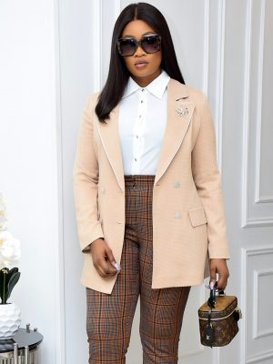 NUDE AND WHITE STRIP BLAZER WITH BROOCH