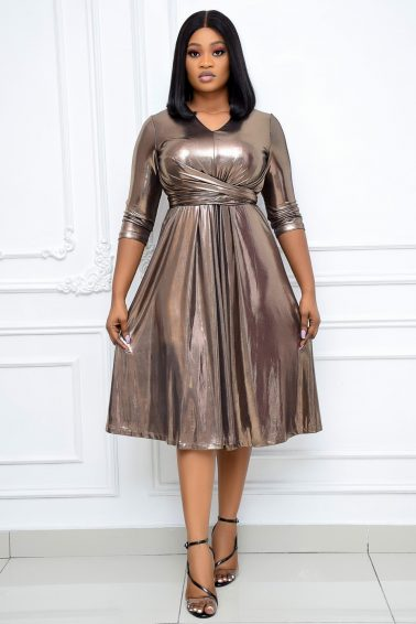 BRONZE V-NECK DRESS