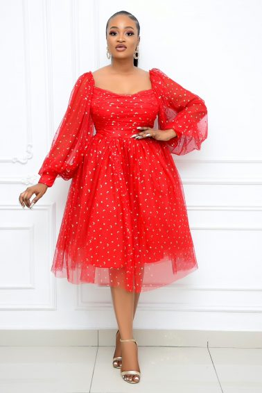 RED MESH DRESS WITH WHITE POKA  DOTS