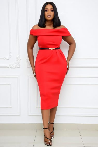 RED OFF-SHOULDER WIGGLE DRESS