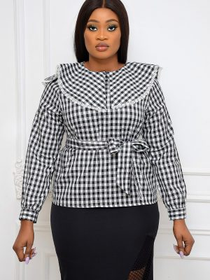BLACK CHECK PURITAN COLLAR TOP