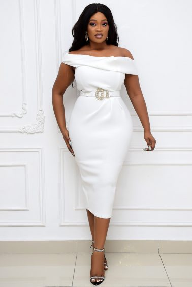 WHITE OFF-SHOULDER WIGGLE DRESS
