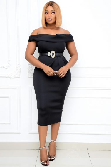 BLACK OFF-SHOULDER WIGGLE DRESS