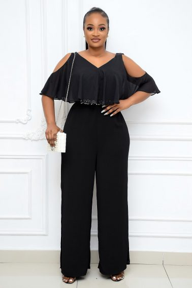 BLACK SLEEVELESS JUMPSUIT MESH CAPE