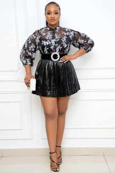 BLACK GLOSSY LEATHER SKIRT